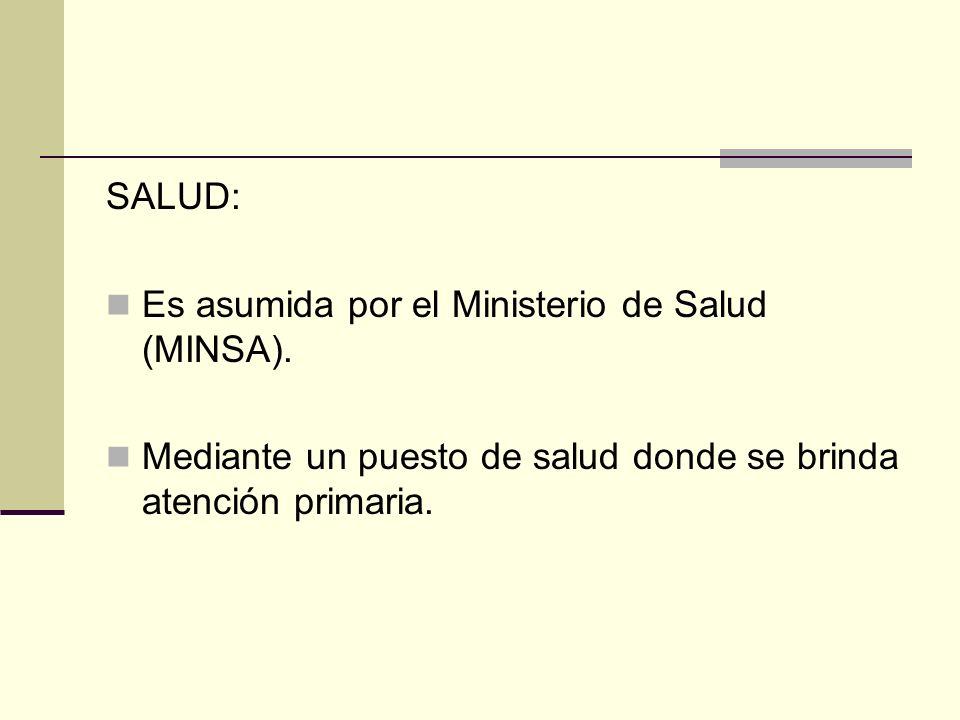 SALUD: Es asumida por el Ministerio de Salud (MINSA). Mediante un puesto de salud donde se brinda atención primaria.