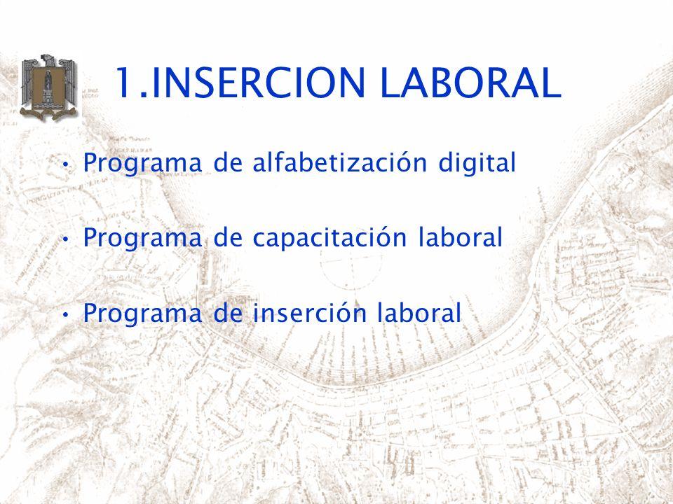 1.INSERCION LABORAL Programa de alfabetización digital Programa de capacitación laboral Programa de inserción laboral