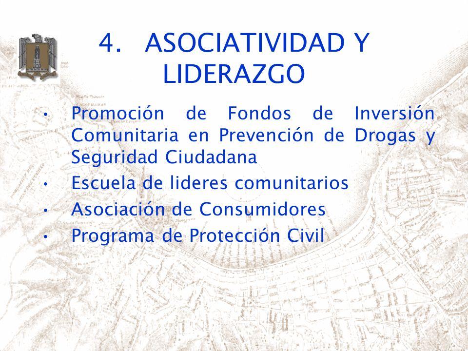 4.ASOCIATIVIDAD Y LIDERAZGO Promoción de Fondos de Inversión Comunitaria en Prevención de Drogas y Seguridad Ciudadana Escuela de lideres comunitarios