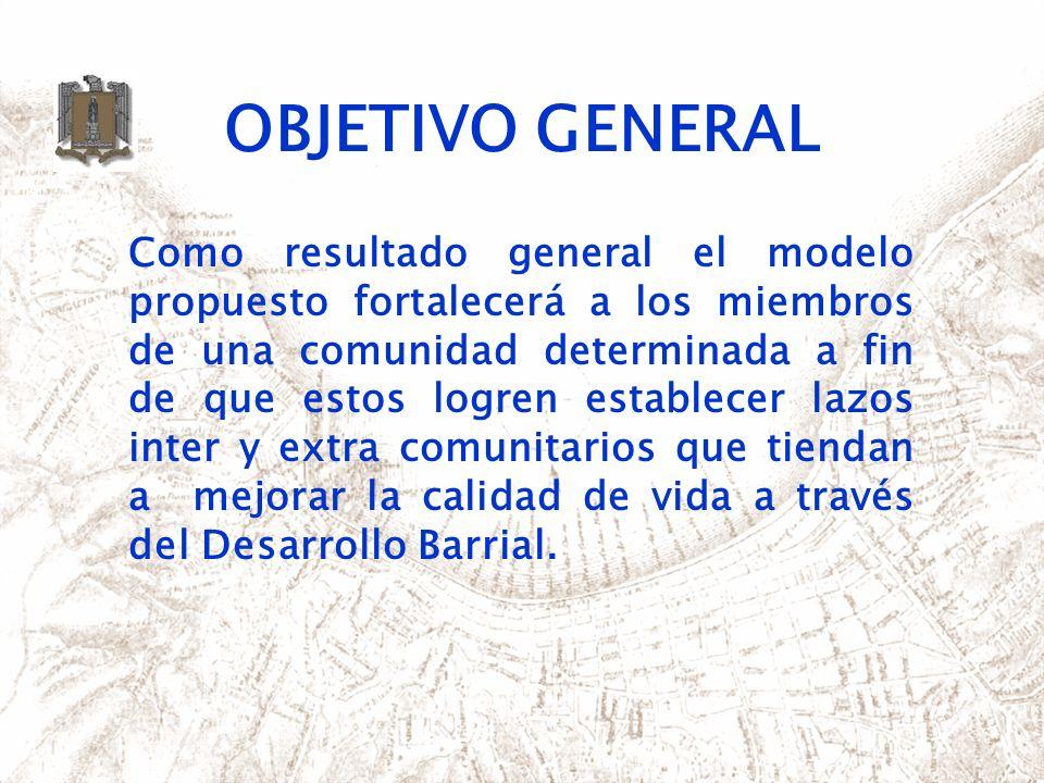 OBJETIVO GENERAL Como resultado general el modelo propuesto fortalecerá a los miembros de una comunidad determinada a fin de que estos logren establec