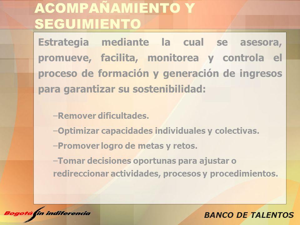 BANCO DE TALENTOS ACOMPAÑAMIENTO Y SEGUIMIENTO Estrategia mediante la cual se asesora, promueve, facilita, monitorea y controla el proceso de formació