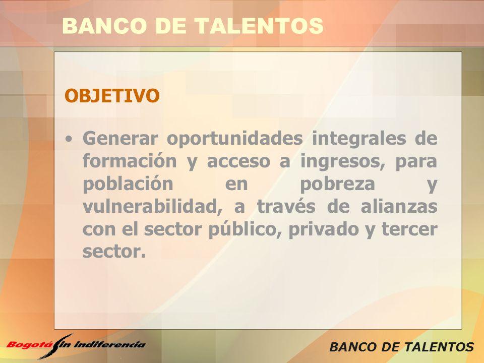 BANCO DE TALENTOS OBJETIVO Generar oportunidades integrales de formación y acceso a ingresos, para población en pobreza y vulnerabilidad, a través de