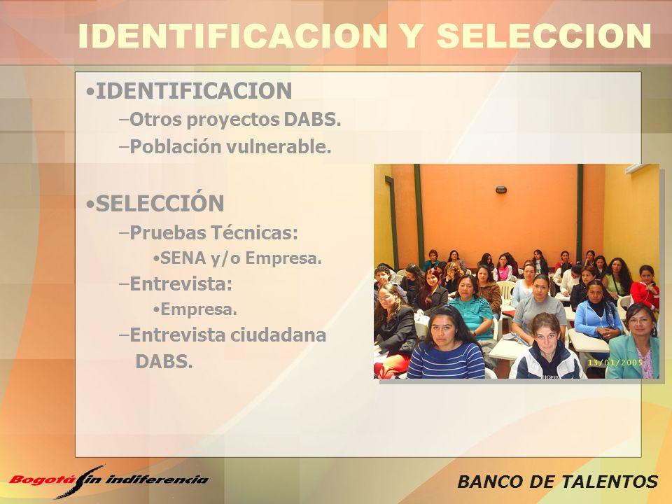 BANCO DE TALENTOS IDENTIFICACION Y SELECCION IDENTIFICACION –Otros proyectos DABS. –Población vulnerable. SELECCIÓN –Pruebas Técnicas: SENA y/o Empres