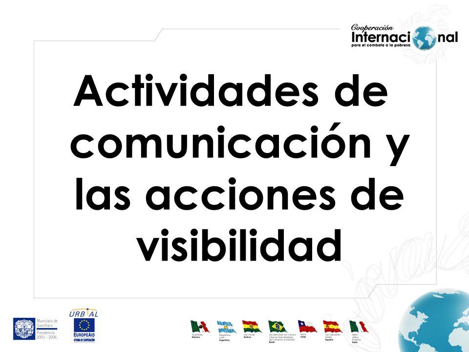 Actividades de comunicación y las acciones de visibilidad