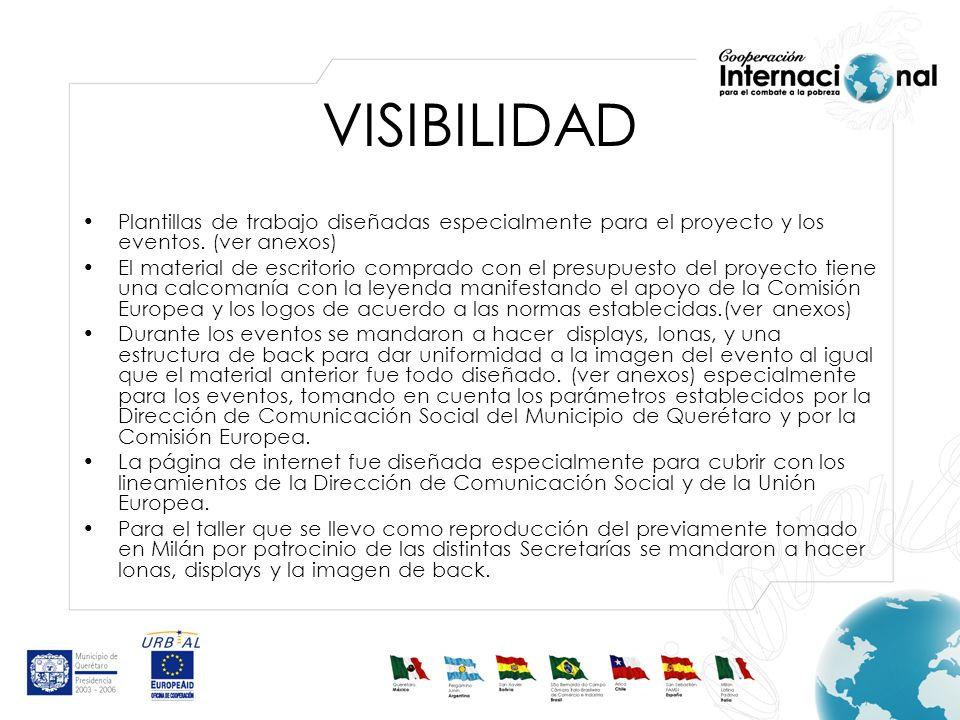 VISIBILIDAD Plantillas de trabajo diseñadas especialmente para el proyecto y los eventos.