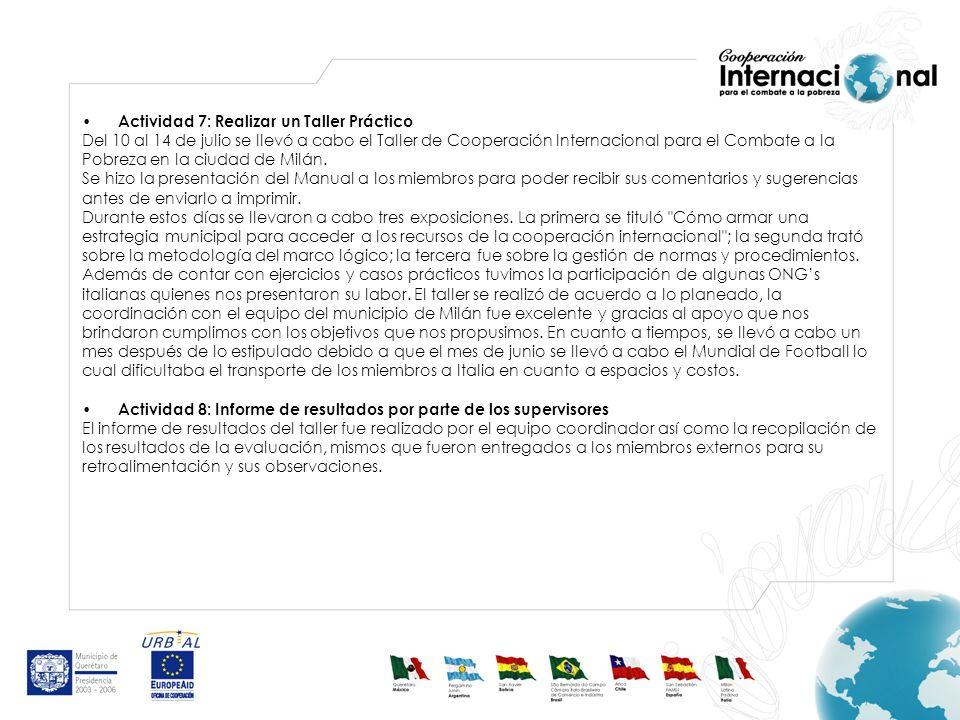 Actividad 7: Realizar un Taller Práctico Del 10 al 14 de julio se llevó a cabo el Taller de Cooperación Internacional para el Combate a la Pobreza en la ciudad de Milán.