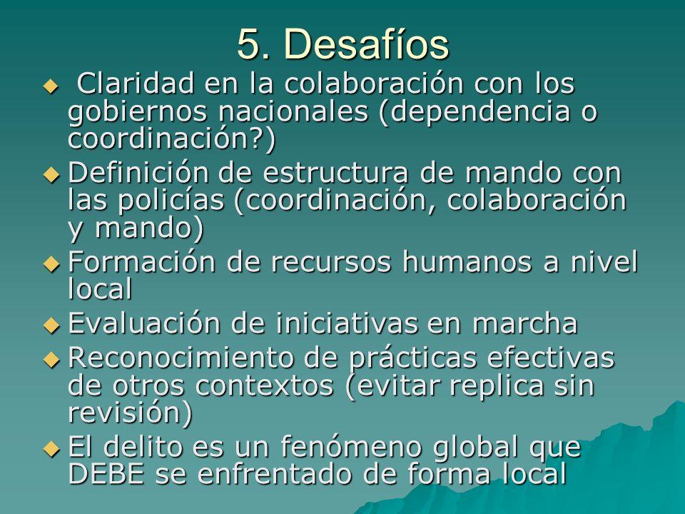 5. Desafíos Claridad en la colaboración con los gobiernos nacionales (dependencia o coordinación?) Claridad en la colaboración con los gobiernos nacio