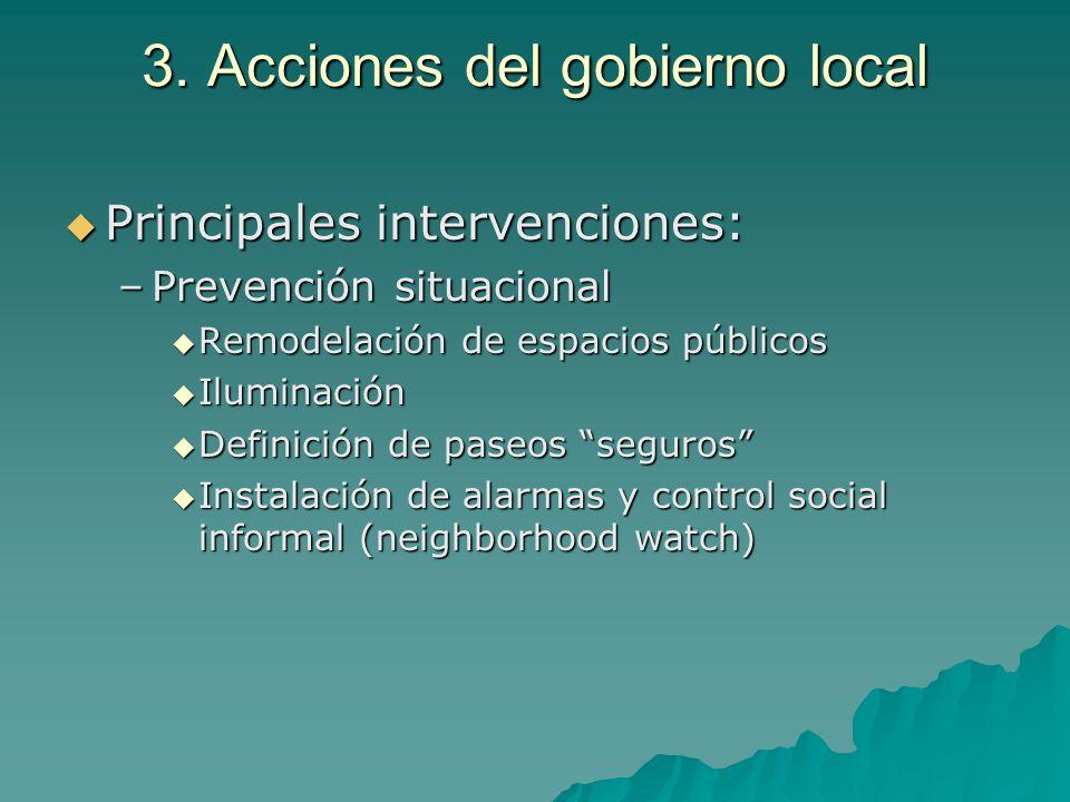 3. Acciones del gobierno local Principales intervenciones: Principales intervenciones: –Prevención situacional Remodelación de espacios públicos Remod