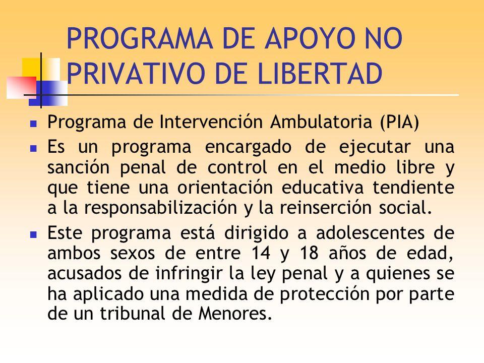 PROGRAMA DE APOYO NO PRIVATIVO DE LIBERTAD Programa de Intervención Ambulatoria (PIA) Es un programa encargado de ejecutar una sanción penal de contro