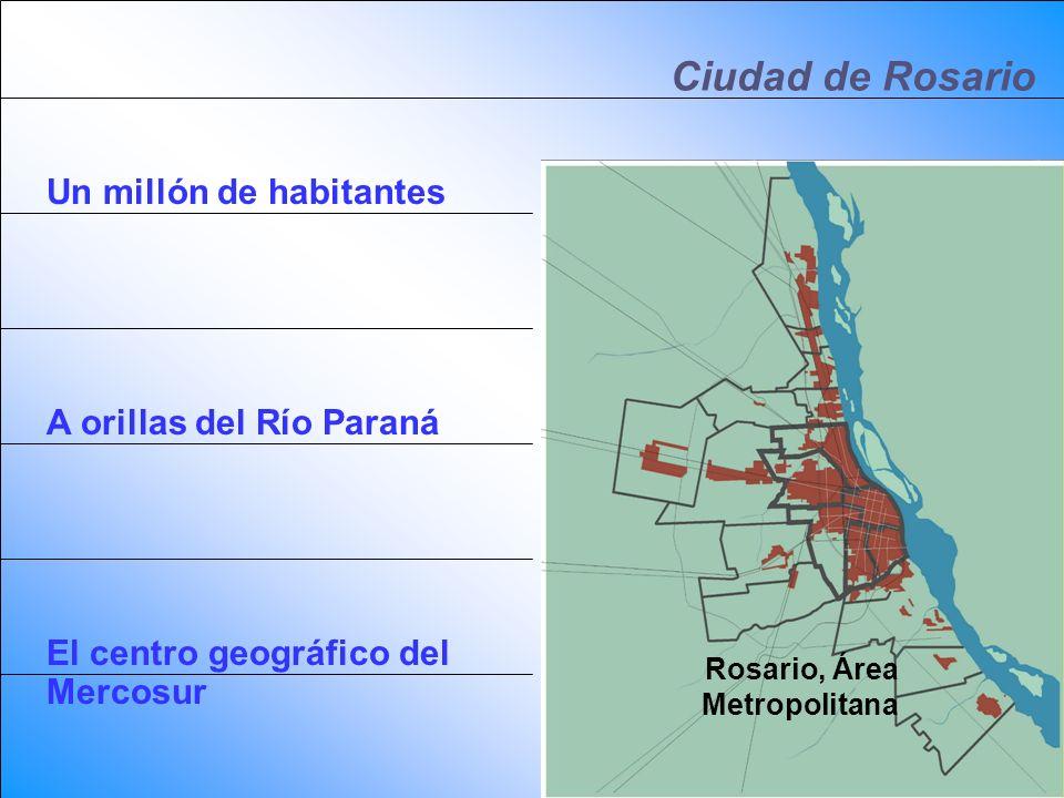 Ciudad de Rosario Un millón de habitantes A orillas del Río Paraná El centro geográfico del Mercosur Rosario, Argentina Rosario, Área Metropolitana
