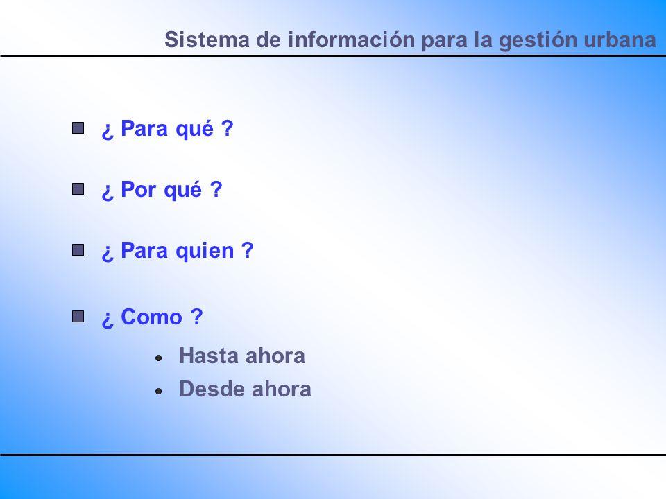 Sistema de información para la gestión urbana ¿ Para qué ? ¿ Por qué ? ¿ Para quien ? ¿ Como ? Hasta ahora Desde ahora