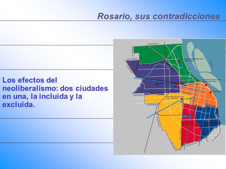 Rosario, sus contradicciones Los efectos del neoliberalismo: dos ciudades en una, la incluida y la excluida.
