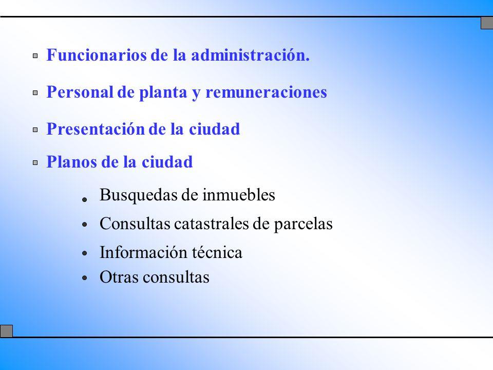 Funcionarios de la administración. Personal de planta y remuneraciones Presentación de la ciudad Planos de la ciudad Busquedas de inmuebles Consultas