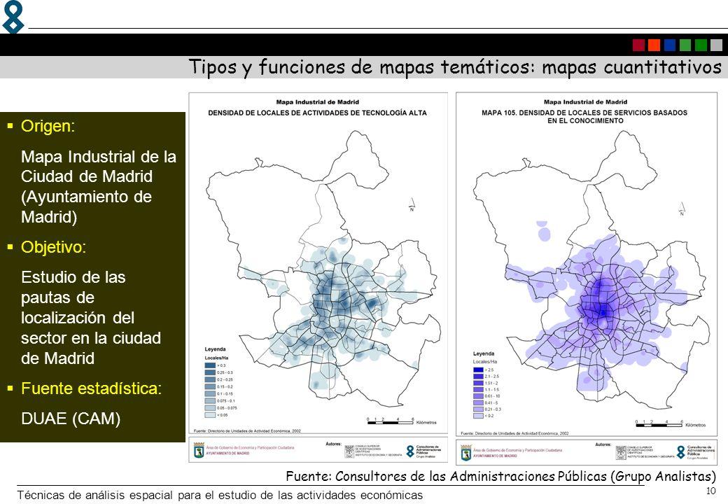 Técnicas de análisis espacial para el estudio de las actividades económicas 10 Origen: Mapa Industrial de la Ciudad de Madrid (Ayuntamiento de Madrid)