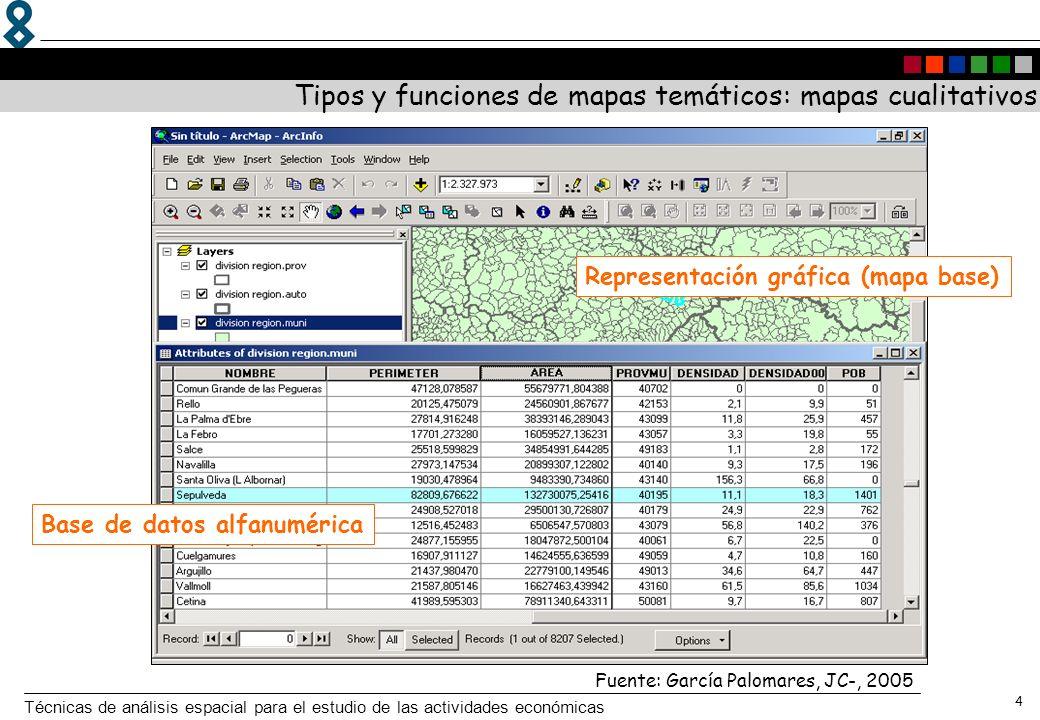 Técnicas de análisis espacial para el estudio de las actividades económicas 4 Tipos y funciones de mapas temáticos: mapas cualitativos Representación