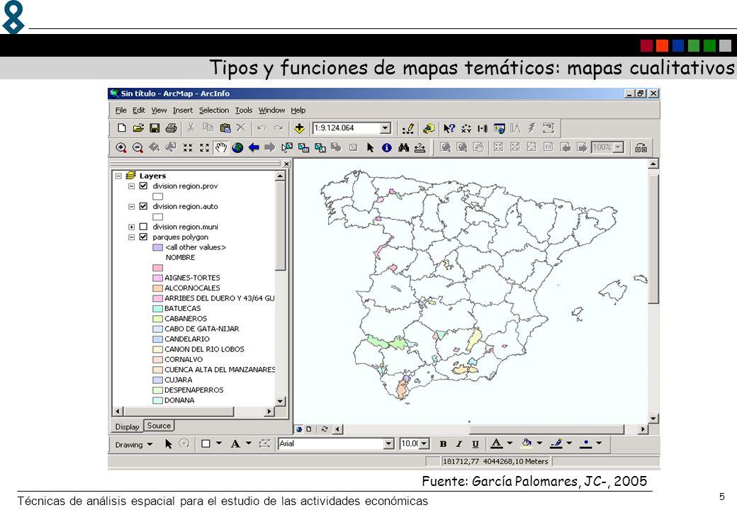 Técnicas de análisis espacial para el estudio de las actividades económicas 5 Fuente: García Palomares, JC-, 2005 Tipos y funciones de mapas temáticos