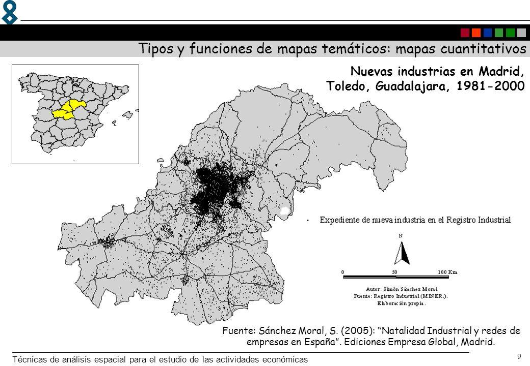 Técnicas de análisis espacial para el estudio de las actividades económicas 9 Nuevas industrias en Madrid, Toledo, Guadalajara, 1981-2000 Tipos y func