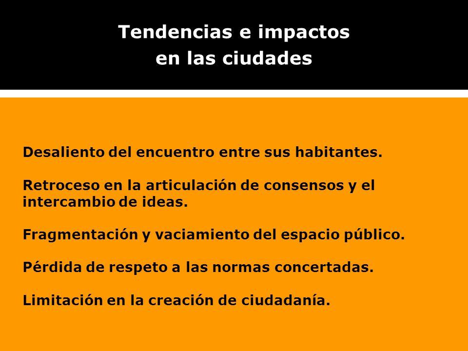 Tendencias e impactos en las ciudades Desaliento del encuentro entre sus habitantes. Retroceso en la articulación de consensos y el intercambio de ide