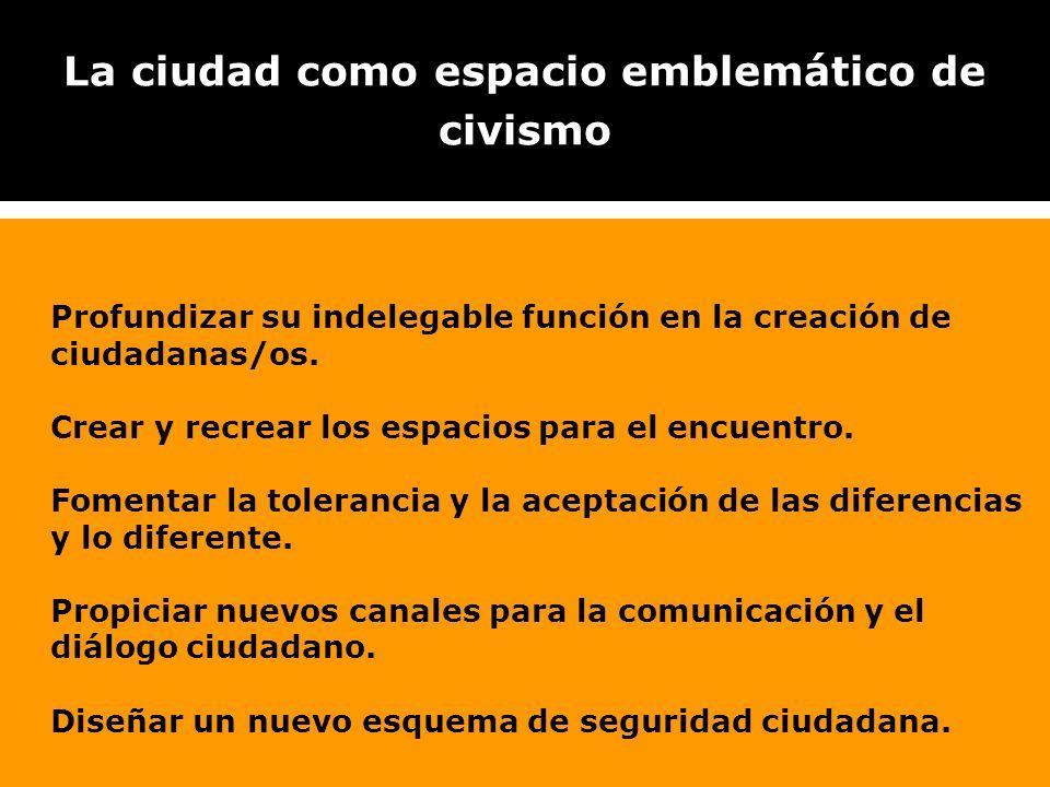 La ciudad como espacio emblemático de civismo Profundizar su indelegable función en la creación de ciudadanas/os.