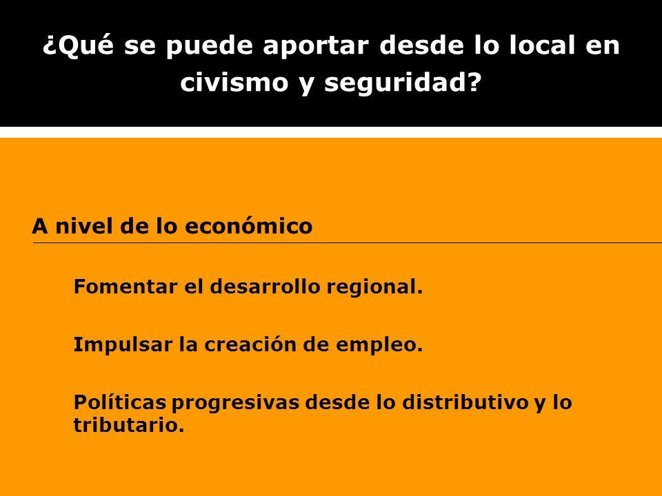 ¿Qué se puede aportar desde lo local en civismo y seguridad? A nivel de lo económico Fomentar el desarrollo regional. Impulsar la creación de empleo.