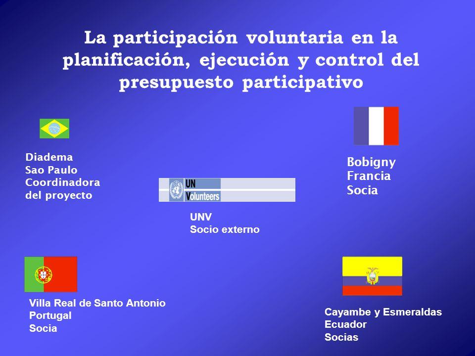 La participación voluntaria en la planificación, ejecución y control del presupuesto participativo Bobigny Francia Socia Villa Real de Santo Antonio P