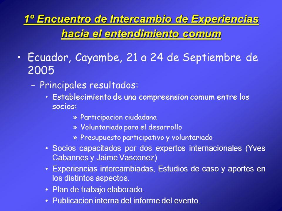 1º Encuentro de Intercambio de Experiencias hacia el entendimiento comum Ecuador, Cayambe, 21 a 24 de Septiembre de 2005 –Principales resultados: Esta