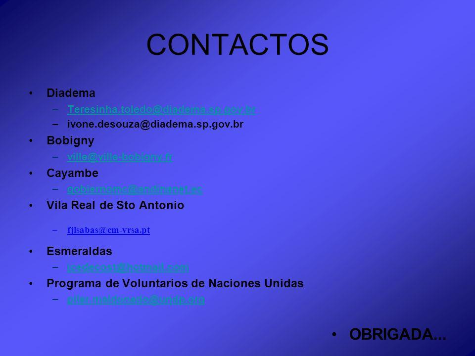 CONTACTOS Diadema –Teresinha.toledo@diadema.sp.gov.brTeresinha.toledo@diadema.sp.gov.br –ivone.desouza@diadema.sp.gov.br Bobigny –ville@ville-bobigny.