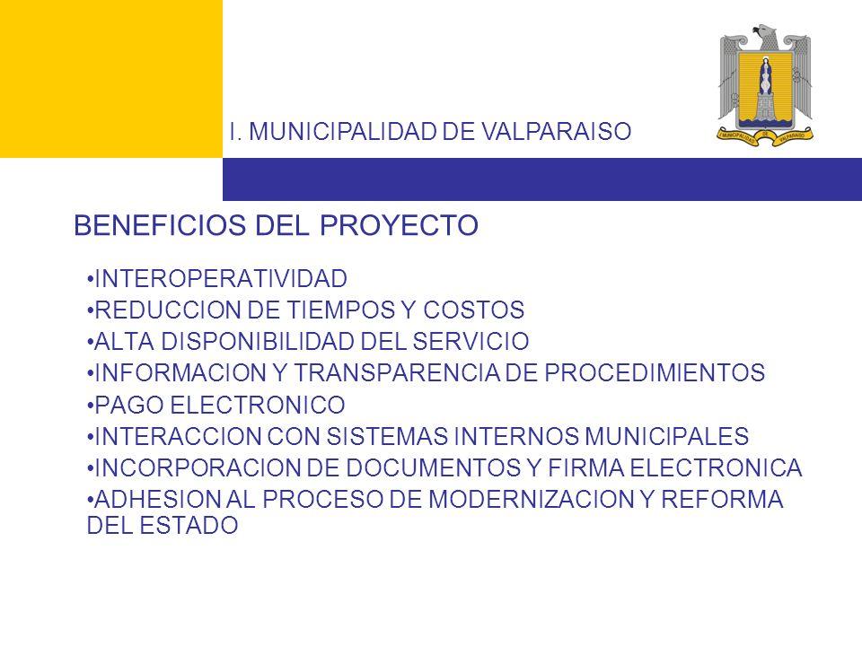 I. MUNICIPALIDAD DE VALPARAISO BENEFICIOS DEL PROYECTO INTEROPERATIVIDAD REDUCCION DE TIEMPOS Y COSTOS ALTA DISPONIBILIDAD DEL SERVICIO INFORMACION Y