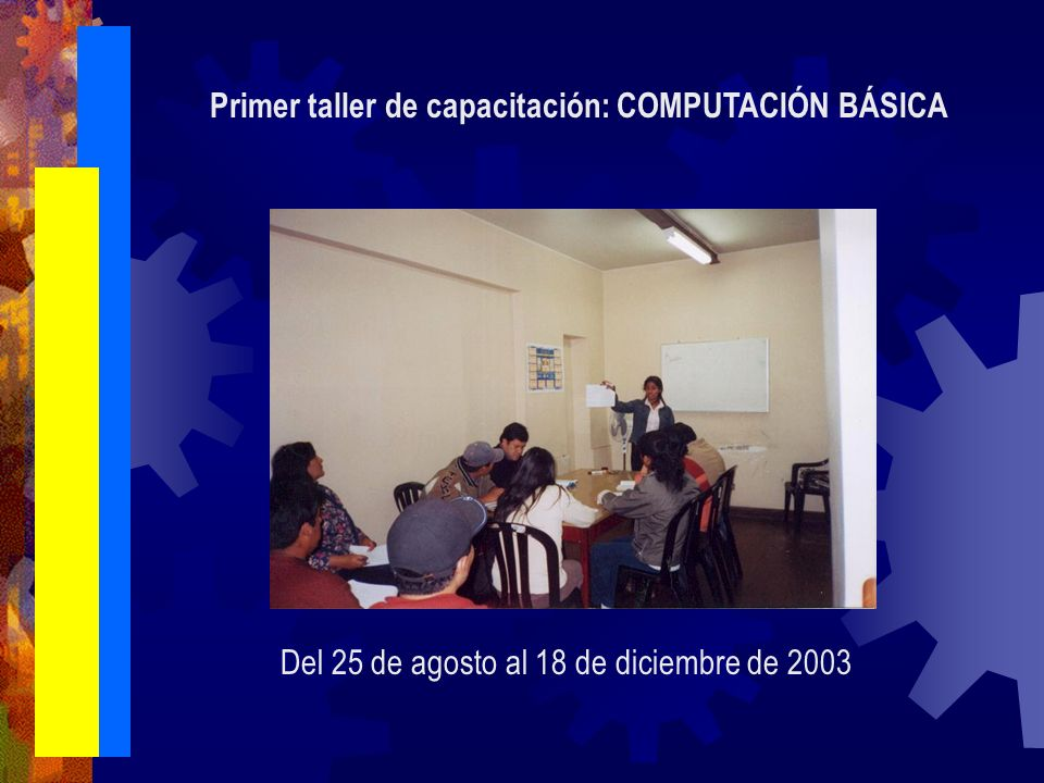 Primer taller de capacitación: COMPUTACIÓN BÁSICA Del 25 de agosto al 18 de diciembre de 2003