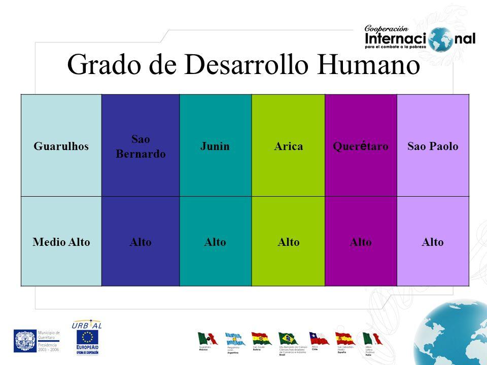 Grado de Desarrollo Humano Guarulhos Sao Bernardo JuninArica Quer é taro Sao Paolo Medio AltoAlto