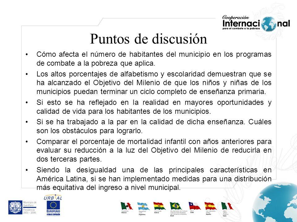 Puntos de discusión Cómo afecta el número de habitantes del municipio en los programas de combate a la pobreza que aplica. Los altos porcentajes de al