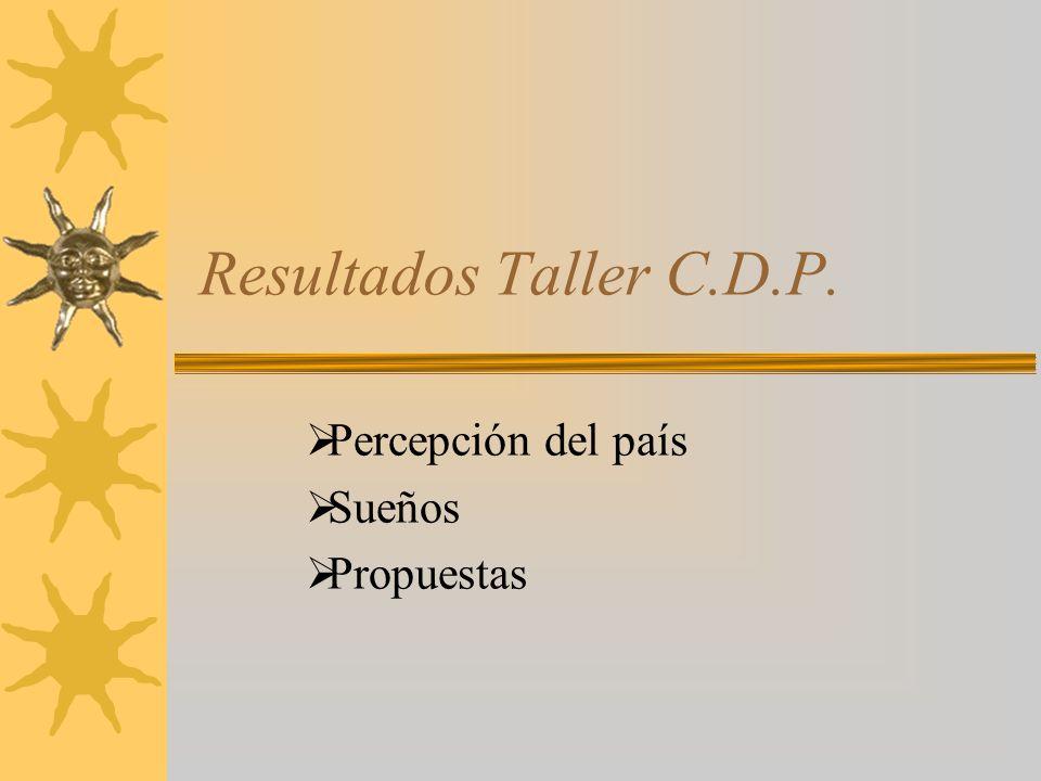 Resultados Taller C.D.P. Percepción del país Sueños Propuestas