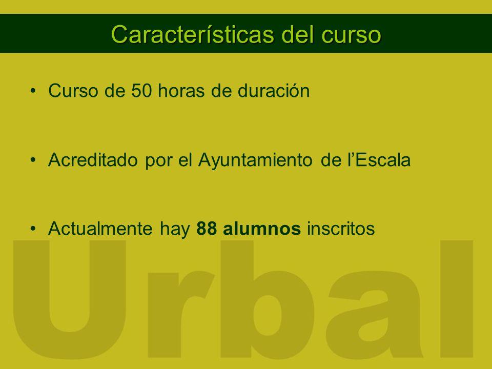 Características del curso Curso de 50 horas de duración Acreditado por el Ayuntamiento de lEscala Actualmente hay 88 alumnos inscritos