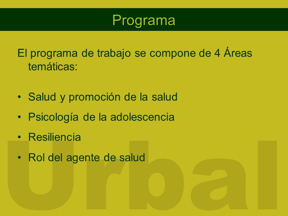 Programa El programa de trabajo se compone de 4 Áreas temáticas: Salud y promoción de la salud Psicología de la adolescencia Resiliencia Rol del agent