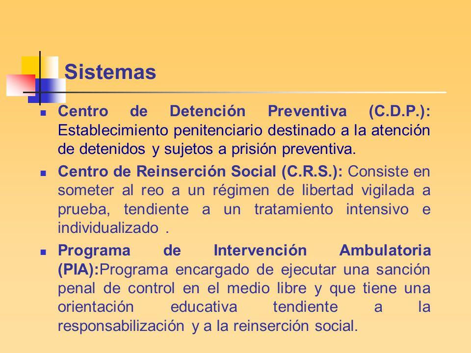 JOVENES INFRACTORES DE LEY Según sistema de cumplimiento (al 30 de junio de 2005) Centro de Detención Preventiva 139 Centro de Reinserción Social70 Programa de Intervención Ambulatoria95 Total304
