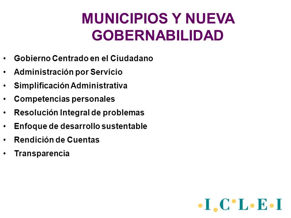 MUNICIPIOS Y NUEVA GOBERNABILIDAD Gobierno Centrado en el Ciudadano Administración por Servicio Simplificación Administrativa Competencias personales Resolución Integral de problemas Enfoque de desarrollo sustentable Rendición de Cuentas Transparencia