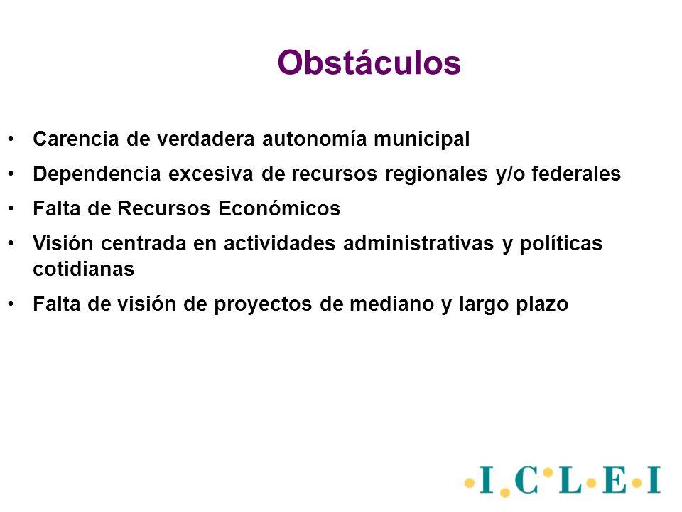 Obstáculos Carencia de verdadera autonomía municipal Dependencia excesiva de recursos regionales y/o federales Falta de Recursos Económicos Visión centrada en actividades administrativas y políticas cotidianas Falta de visión de proyectos de mediano y largo plazo
