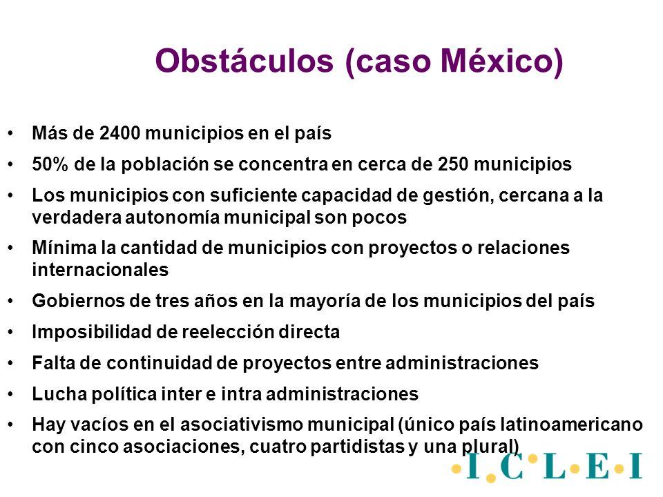 Obstáculos (caso México) Más de 2400 municipios en el país 50% de la población se concentra en cerca de 250 municipios Los municipios con suficiente c