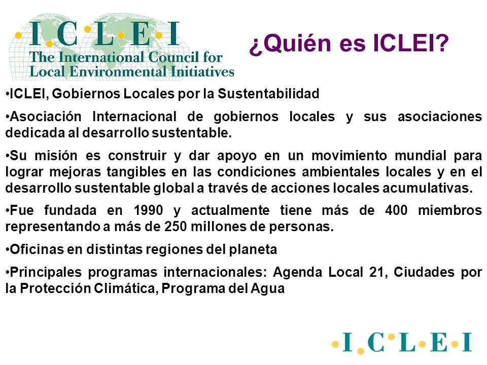 ICLEI, Gobiernos Locales por la Sustentabilidad Asociación Internacional de gobiernos locales y sus asociaciones dedicada al desarrollo sustentable. S