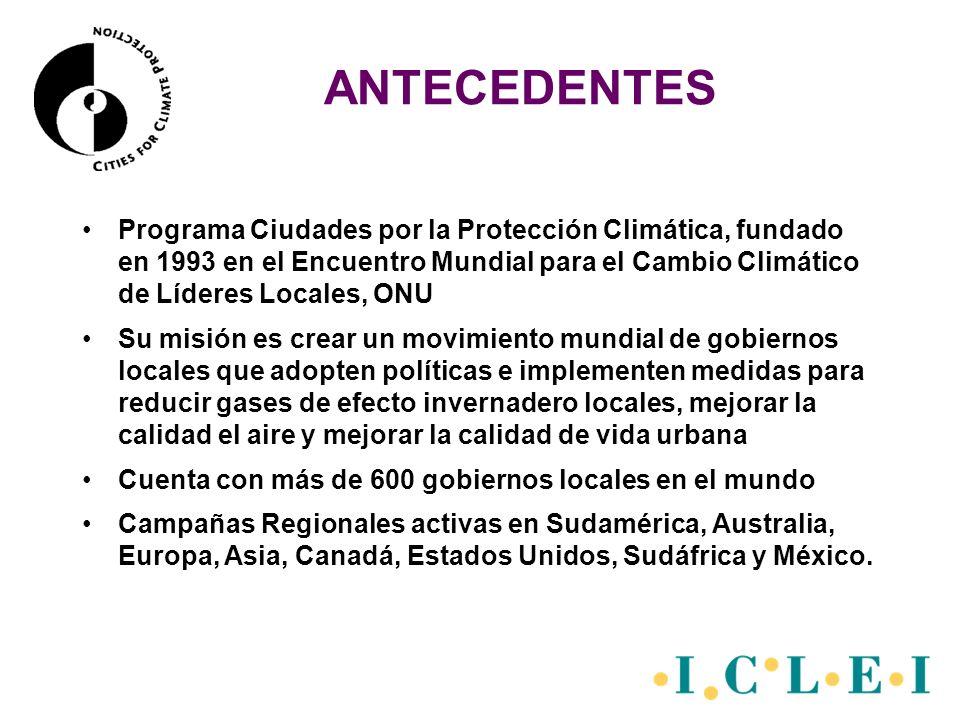 ANTECEDENTES En 1998 ICLEI lanzó el programa CCP en México con cinco ciudades del país (Fase I) Julio 2002: Inicio de actividades en Cooperación con la Asociaación de Municipios de México Octubre de 2004: Inicio de Actividades del Programa Promoviendo un Sector Público Energéticamente Eficiente (PEPS) Octubre de 2005: Continúa el PEPS en cooperación con la Comisión Nacional para el Ahorro de Energía (CONAE)