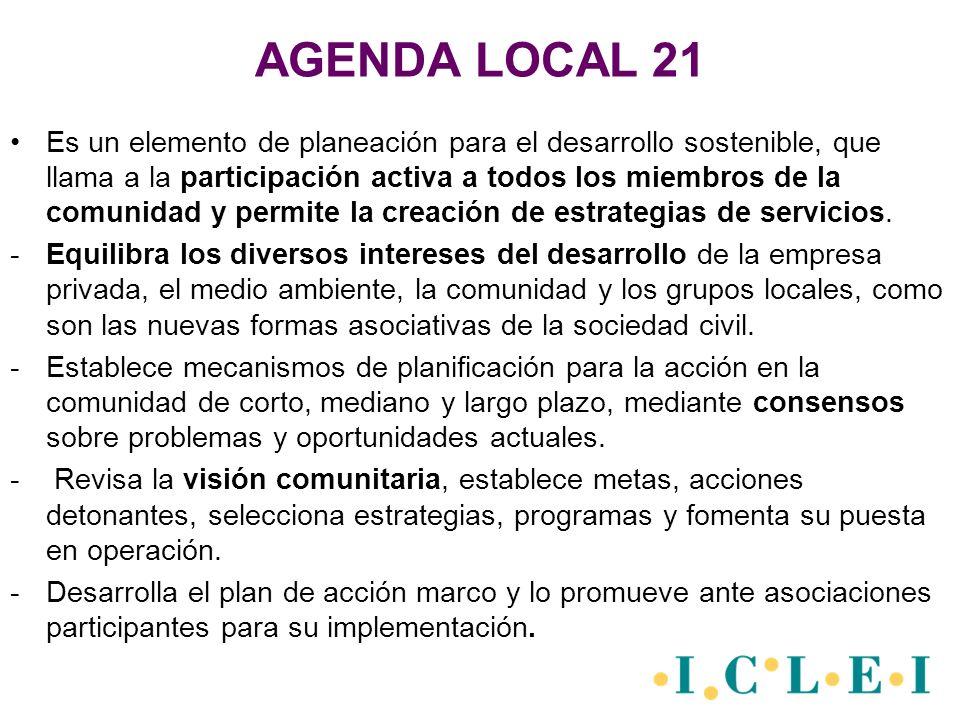 AGENDA LOCAL 21 Es un elemento de planeación para el desarrollo sostenible, que llama a la participación activa a todos los miembros de la comunidad y