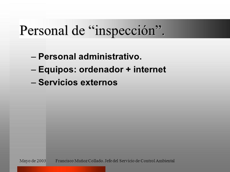 Mayo de 2003Francisco Muñoz Collado. Jefe del Servicio de Control Ambiental Personal de inspección. –Personal administrativo. –Equipos: ordenador + in