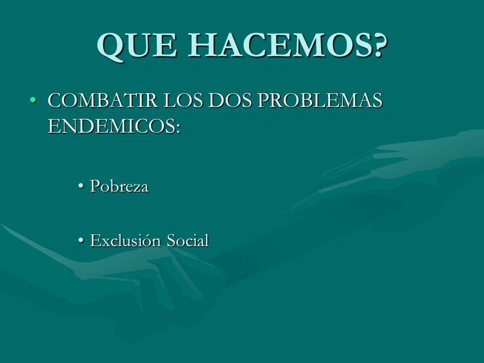 QUE HACEMOS? COMBATIR LOS DOS PROBLEMAS ENDEMICOS:COMBATIR LOS DOS PROBLEMAS ENDEMICOS: PobrezaPobreza Exclusión SocialExclusión Social