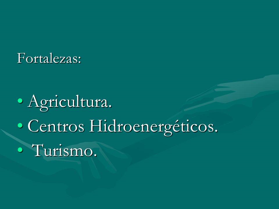 Fortalezas: Agricultura.Agricultura. Centros Hidroenergéticos.Centros Hidroenergéticos. Turismo. Turismo.