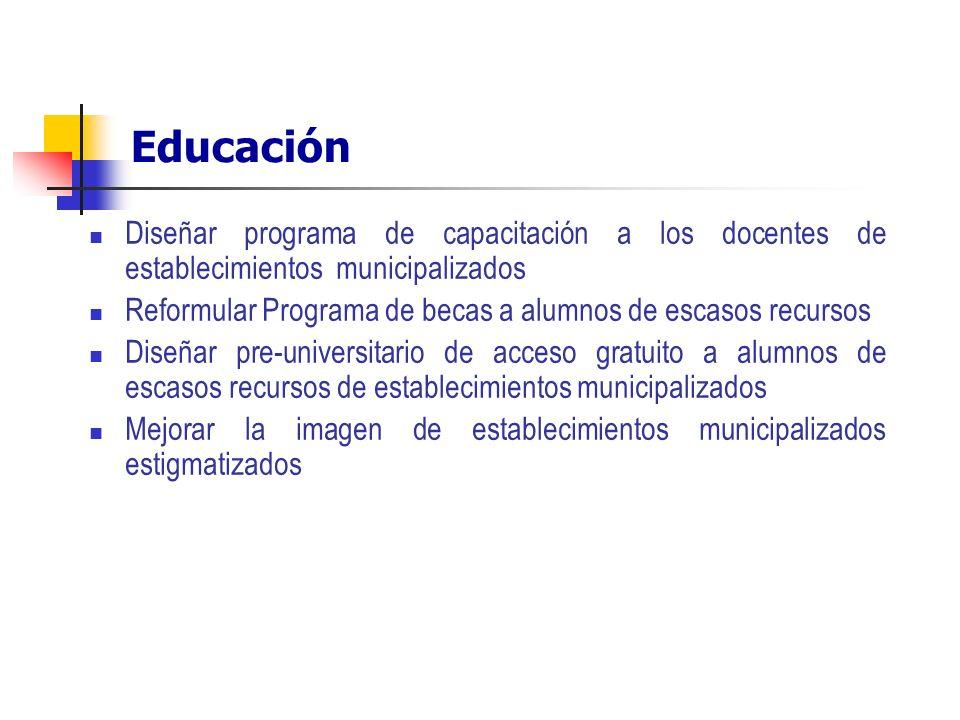 Educación Diseñar programa de capacitación a los docentes de establecimientos municipalizados Reformular Programa de becas a alumnos de escasos recurs