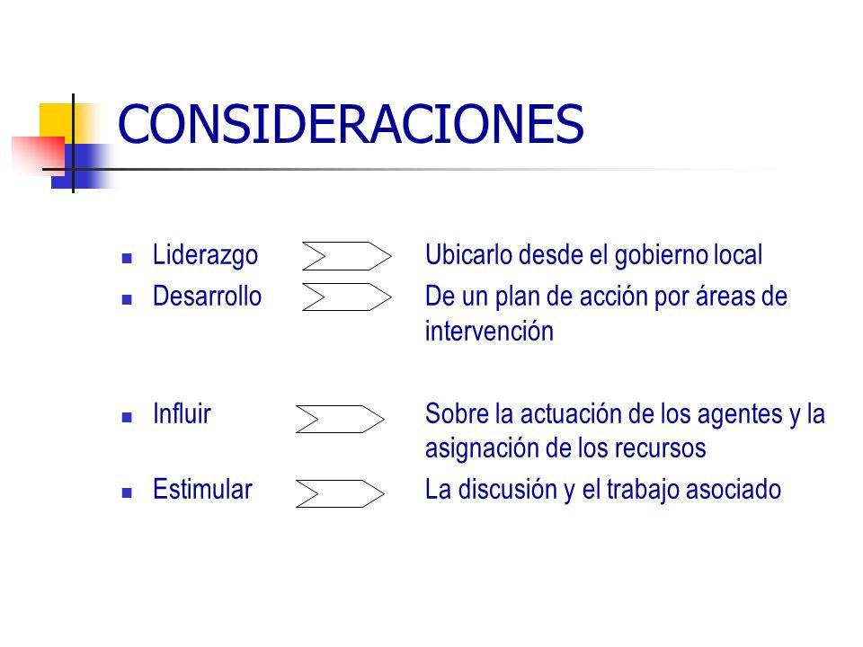 CONSIDERACIONES Liderazgo Ubicarlo desde el gobierno local Desarrollo De un plan de acción por áreas de intervención Influir Sobre la actuación de los