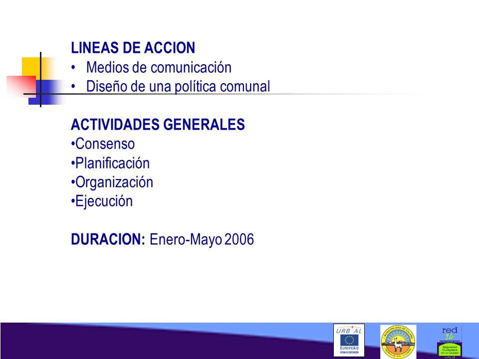 LINEAS DE ACCION Medios de comunicación Diseño de una política comunal ACTIVIDADES GENERALES Consenso Planificación Organización Ejecución DURACION: E