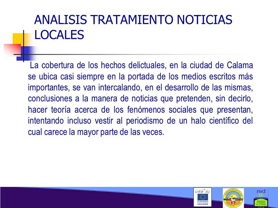 ANALISIS TRATAMIENTO NOTICIAS LOCALES La cobertura de los hechos delictuales, en la ciudad de Calama se ubica casi siempre en la portada de los medios