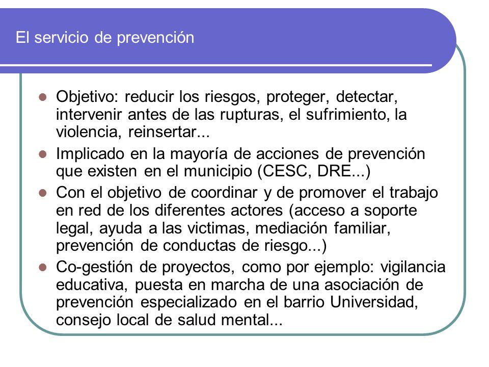 El servicio de prevención Objetivo: reducir los riesgos, proteger, detectar, intervenir antes de las rupturas, el sufrimiento, la violencia, reinsertar...