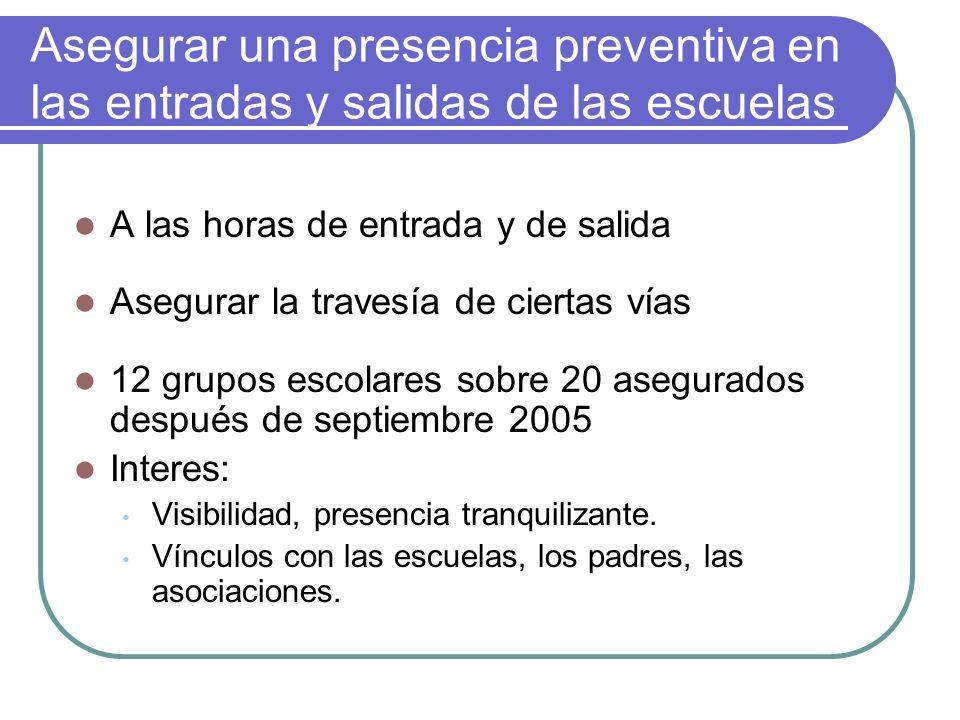 Asegurar una presencia preventiva en las entradas y salidas de las escuelas A las horas de entrada y de salida Asegurar la travesía de ciertas vías 12 grupos escolares sobre 20 asegurados después de septiembre 2005 Interes: Visibilidad, presencia tranquilizante.